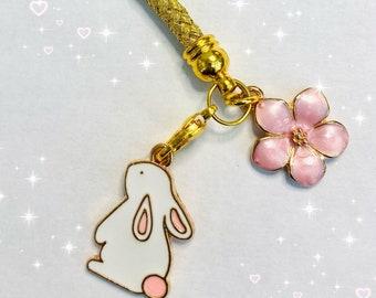 Phone charm anime bunny moon sakura  dust plug /smart hanger/ keyring/keychain tablet phone laptop cell lanyard blossom kawaii keyring