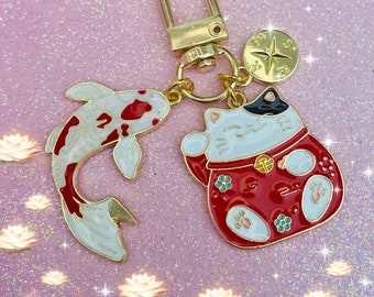 Lucky cat koi fish key ring with lucky compass travel safety charm maneki neko anime moon cat keychain phone accessory bag Japanese fortune