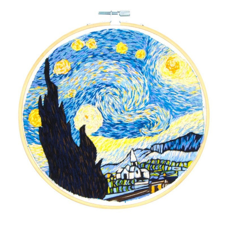 Van Gogh embroidery full kit mothers day gift DIY craft kits modern embroidery kit with hoop gift for her Starry Night embroidery kit