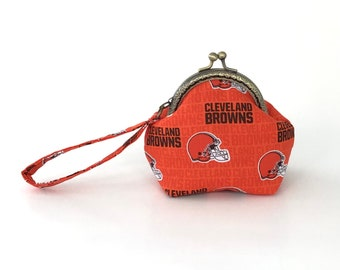 Coin Purse Wristlet - Cleveland Browns Purse, Orange and Brown, Cleveland Browns Wallet, Browns Purse, Dawg Pound, Cleveland Browns Gifts