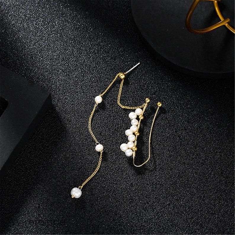 Vintage Freshwater Pearl Earrings Pearl Ear Bone Clip Integrated Tassel Earrings Gift S925 Silver Needle Earrings