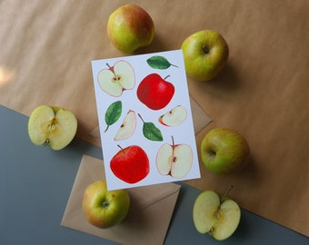 Greeting card 'An Apple A Day' | Apples | Fruit | Greeting cards | Get well | Watercolor print