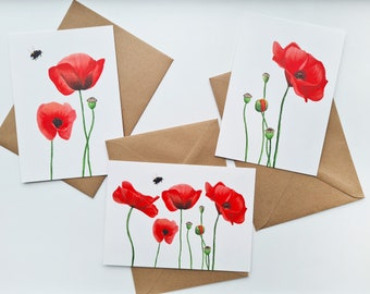 Greeting card set 'Poppy' | 3 cards | Poppies | Greeting cards | Funeral cards | Watercolor print