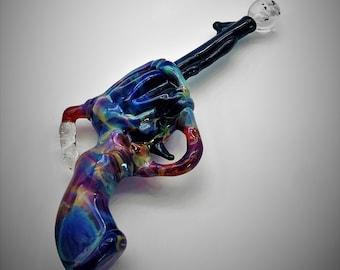 Amber Purple Extra Large Revolver Pistol with Firing Implosion Borosilicate Glass Pendant