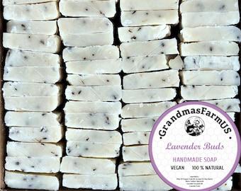 Lavender 100% Natural  Handmade Soap Ends Essential Oil Soaps 15 30 60 Piece Wholesale Bars Cold Process Bulk Bridal Baby Shower Soap favors