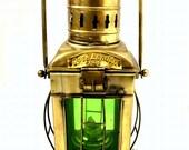 Nautical Marine Green Ship Hanging Oil Lamp Antique Brass Beach Lantern Decor