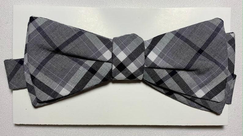 Red White and Blue Stripe Grey Plaid. Handmade Cotton Plaid Stripe Bow Tie Blue and White Stripe Orange Plaid