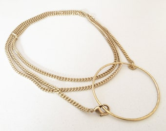 Multi wearable long necklace with hammered wire