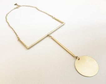 GEOMETRIC HANDMADE necklace with circle pendant