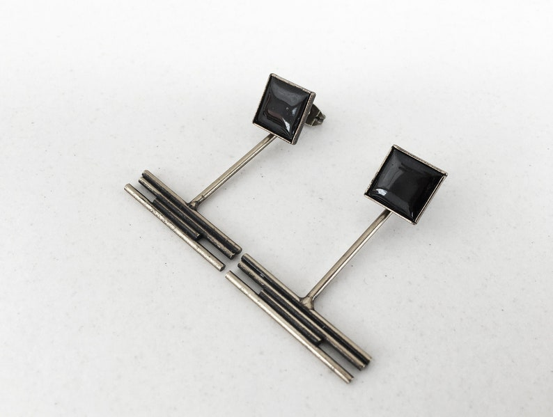 Art Deco EARRINGS with removable charms and black enamel. image 0
