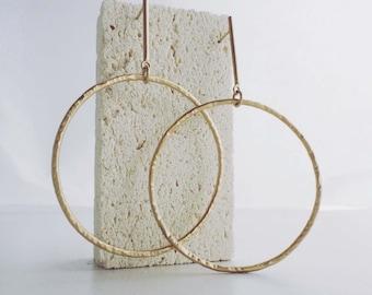 Minimal handmade EARRINGS with hammered pendants