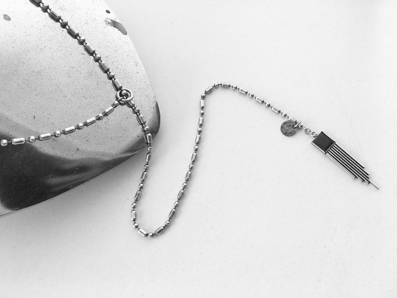 LONG NECKLACE with geometric pendant image 0