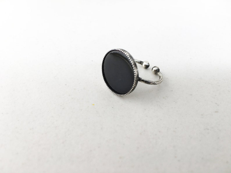 ADJUST antique silver PINKY RING with black enamel image 0