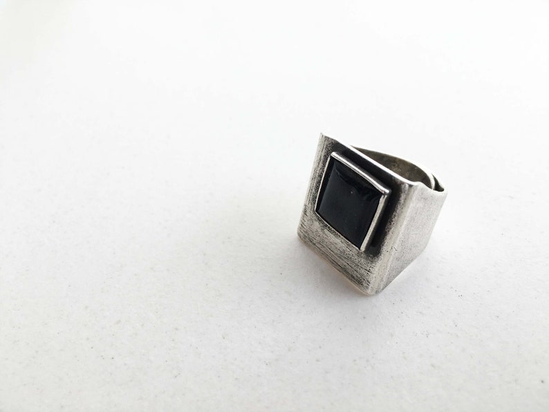ADJUST silver RING with black enamel image 0