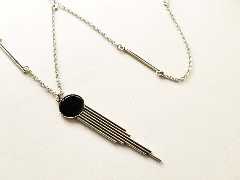 EXTRA long NECKLACE with geometric PENDANT image 0