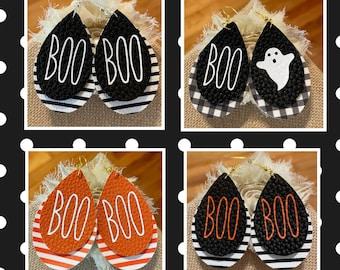 Boo earrings, Halloween earrings, Halloween faux leather earrings, ghost earrings, Halloween jewelry, fall earrings