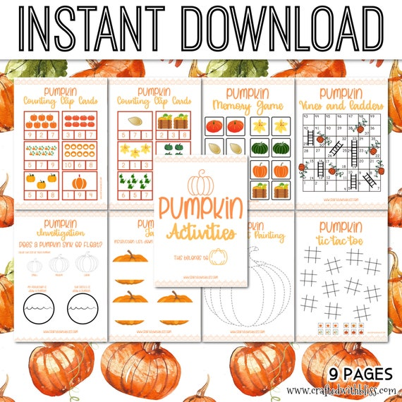 Pumpkin Activities Fall Classroom Pack Pumpkin Sink or