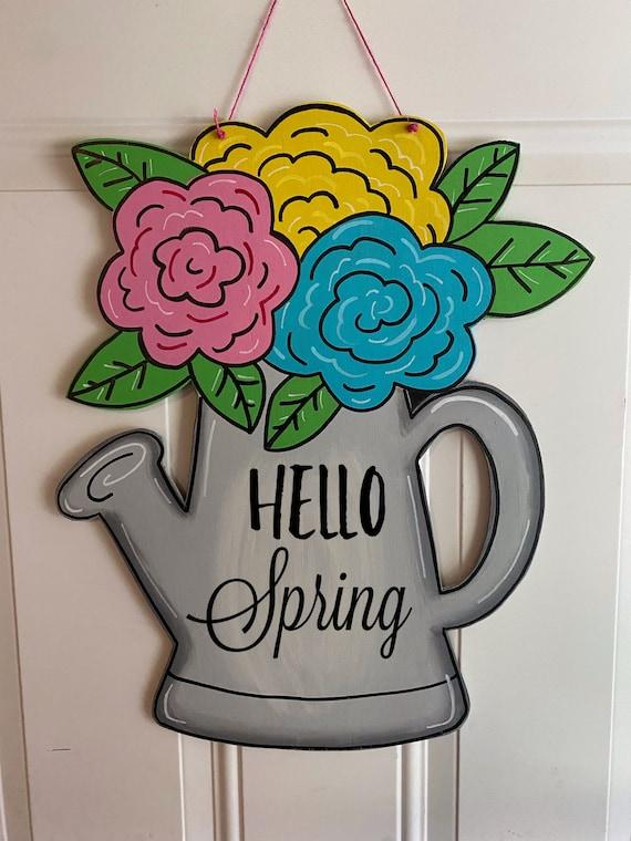 vintage decor door hanger hello spring door sign watering can watering can decor Hello sign