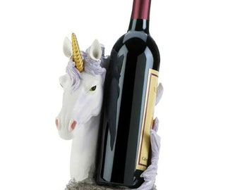Drinking Magical Unicorn Wine Bottle Holder Display Stand Decorative Statue for Mythical Decor Bar or Counter Centerpieces As Fantasy Gifts for Wine Lovers