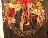 23 inch Fall Grapevine wreath FREE SHIPPING