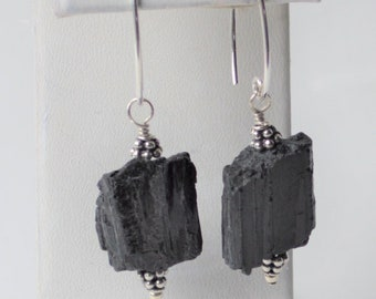 Black tourmaline earring*Gemstone*Large nugget*Sterling silver*Handcrafted*Gift*Long earwire*Unique