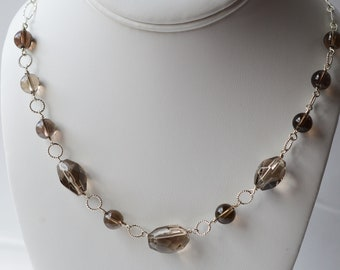 Smokey Quartz Silver Necklace * Nuggets * Faceted * Round stones * Handcrafted * Gemstone * Gift * Silver