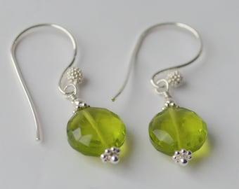 Peridot silver earrings*Gemstone*Sterling silver*Dainty*Gift*August birthstone*Handcrafted*Green*Fancy earwire
