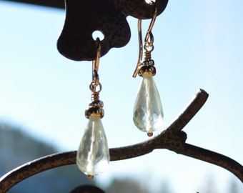 Green amethyst teardrop earrings