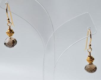 Smokey Quartz Earrings * Vermeil * Gold-fill * Gemstone * Quartz * Brown * Drop * Natural * Gift