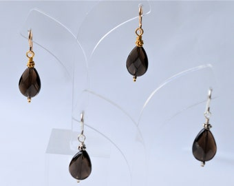 Smokey Quartz Earrings * Drop Earrings * Silver * Gold-fill * Vermeil * Brown* Gift * French Wire * Fall * Faceted * Pear * Briolette * Gift