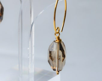 Natural Smokey Quartz Gold Earrings * Faceted Nugget * Vermeil * Gold-fill * Handcrafted *