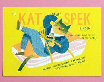 Riso art print Dutch expression - Cat - A5
