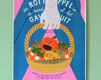 Limited edition Risoprint A3 Apples Dutch saying