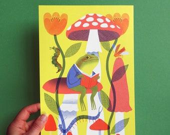 Artprint Frog on mushroom 184mm x 294mm