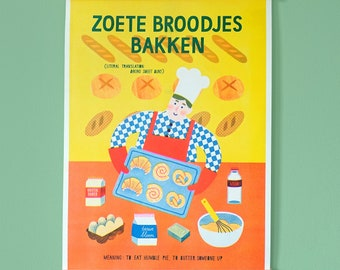 Limited edition Risoprint A3 Baker Dutch saying