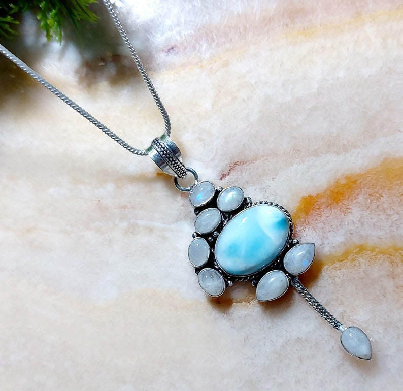 Larimar Pendant,925 Sterling Silver,Gemstones Gift for Women Valentine/'s Day Gift For Her Necklace Pendant,Larimar,vPendant,Silver Jewelry