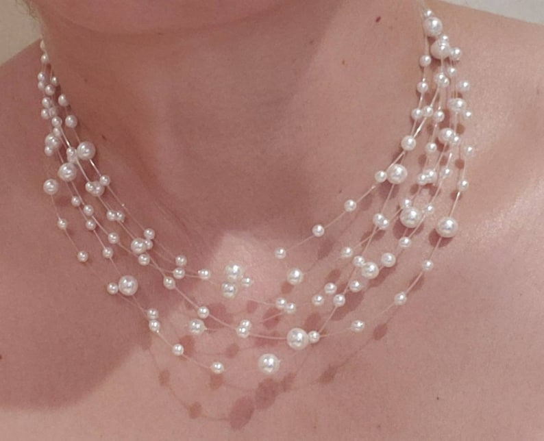 Set of White Pearl Necklace and Earrings