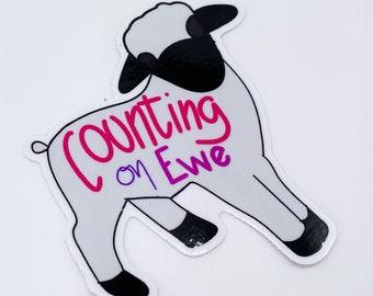 Vinyl Counting On Ewe Sticker