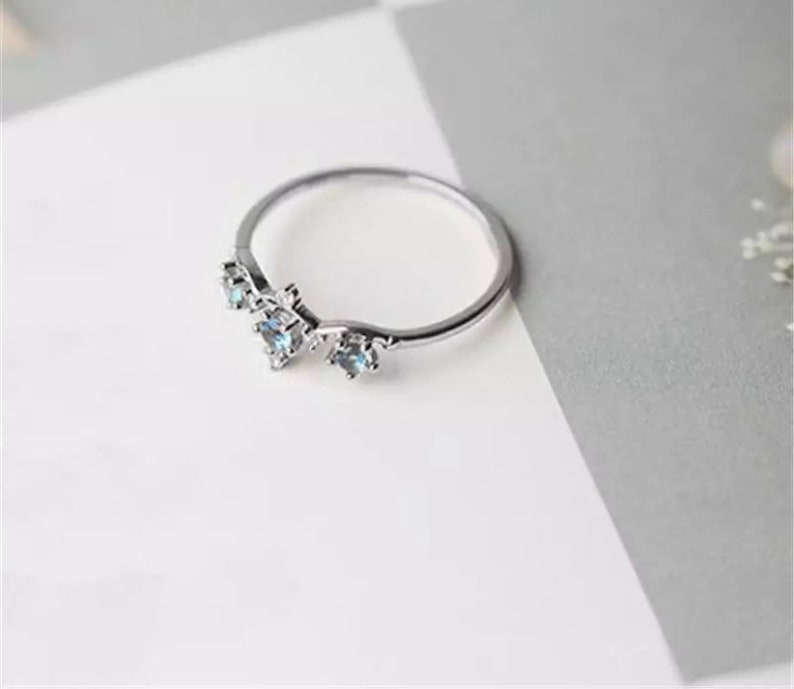 Astrology Ring Promise Ring Handmade Aquamarine Style Ring with Cubic Zarconia Star Rings Star Sign Ring Constellation Ring Gold