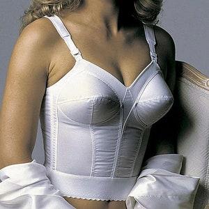 Exquisite Form vintage 70/'s long line fully exquisite bra 44 C burlesque sissy