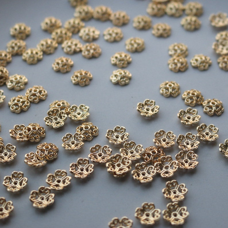 20 pcs 8mm 14K Gold Plated Floral Bead Caps