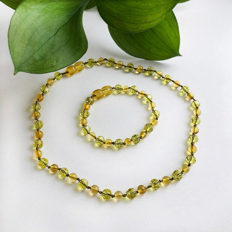 Set Necklace Bracelet Natural Green Honey Amber Glass crystalsWish Yoga Meditation Mental Health Negative Energy Heart Protection Classic