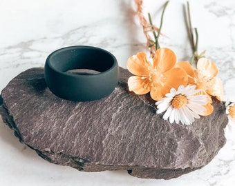 Black Smooth Silicone Wedding Band Rings for Men