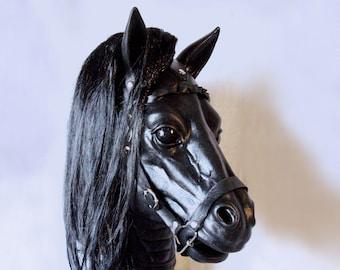 Pony Play Latex Mask, Black Horse latex Hood, Fetish Handmade, Animal Costume, Halloween, Cosplay