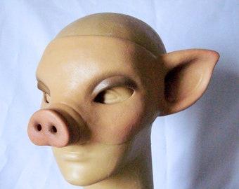 Piggy Half Mask, Pig Latex Mask, Skin color or Black, Erotic Costume, Cosplay