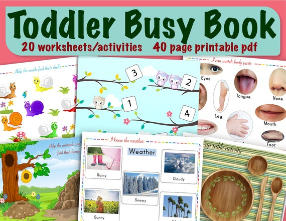 Toddler busy book Printable Bundle with 20 activities