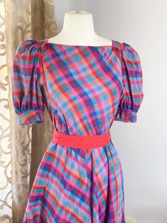 Vintage 1980 1970 Miss Joni Red Plaid Puff Sleeve… - image 5