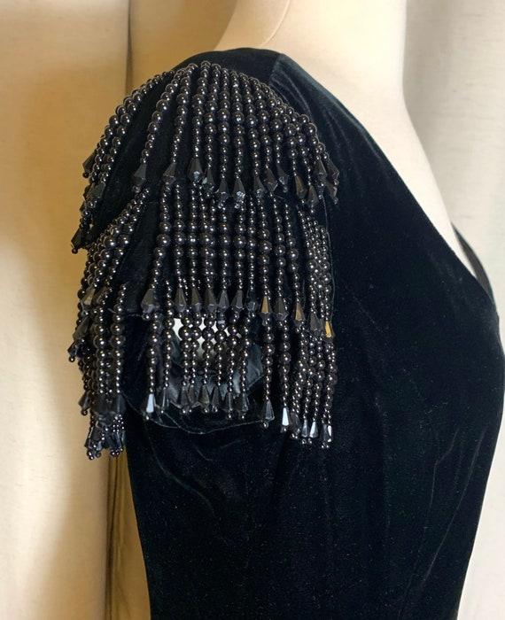August Silk Black Velvet Beaded Cap Sleeve Sheath