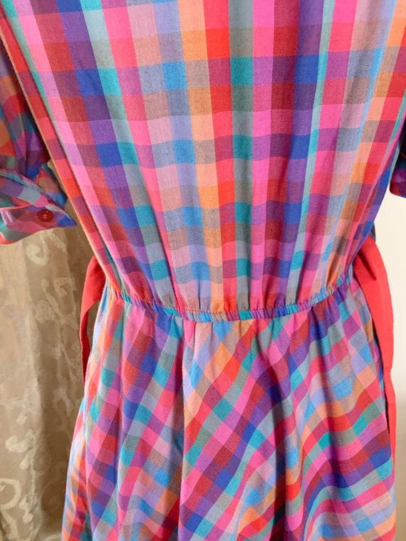 Vintage 1980 1970 Miss Joni Red Plaid Puff Sleeve… - image 8
