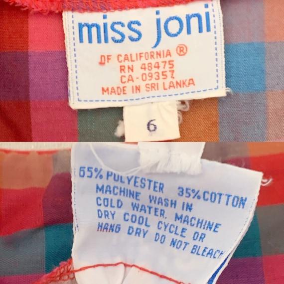 Vintage 1980 1970 Miss Joni Red Plaid Puff Sleeve… - image 9